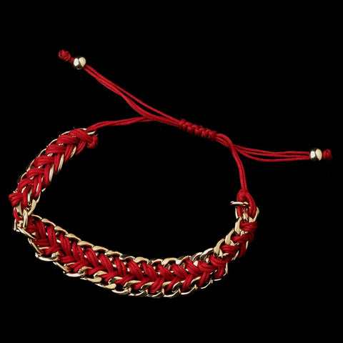 Gold Red Braided Mesh Link Fashion Bridal Wedding Bracelet 8860