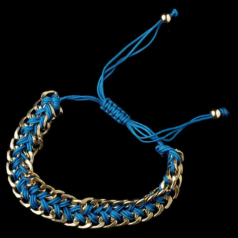 Gold Turquoise Braided Mesh Link Fashion Bridal Wedding Bracelet 8860