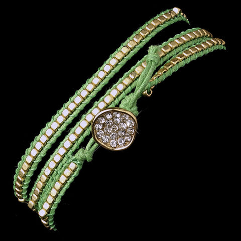 Green Studded Bohemian Wrap Bridal Wedding Bracelet with Rhinestone Adornment 8862