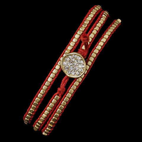 Red Studded Bohemian Wrap Bridal Wedding Bracelet with Rhinestone Adornment 8862