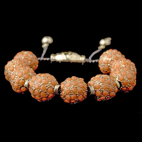Gold Orange Jeweled Shambhala Pave Bridal Wedding Bracelet 8863