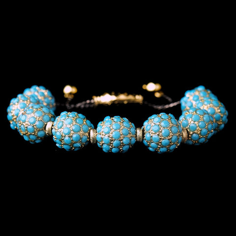 Gold Turquoise Pave Ball Fashion Bridal Wedding Bracelet 8863