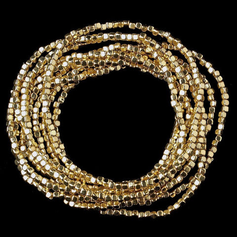 Gold 9 Strand Bridal Wedding Elastic Bridal Wedding Bracelet 8864