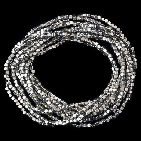 Silver 9 Strand Bridal Wedding Elastic Bridal Wedding Bracelet 8864