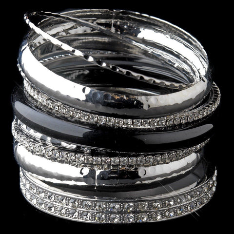 Silver & Black Rhinestone Animal Print Stackable Bridal Wedding Bracelet Set 8868