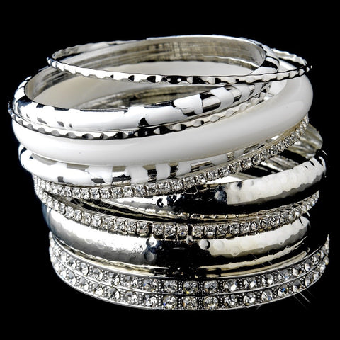 Silver & White Rhinestone Animal Print Stackable Bridal Wedding Bracelet Set 8868