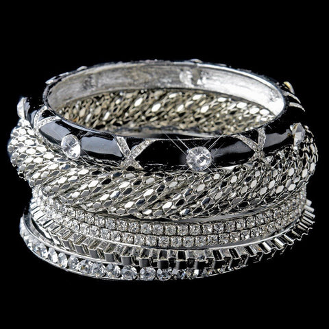 Silver & Black Rhinestone 6 Piece Bangle Bridal Wedding Bracelet Set 8869