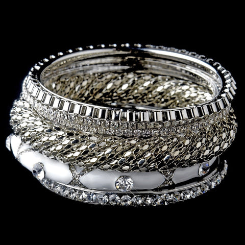 Silver & White Rhinestone 6 Piece Bangle Bridal Wedding Bracelet Set 8869