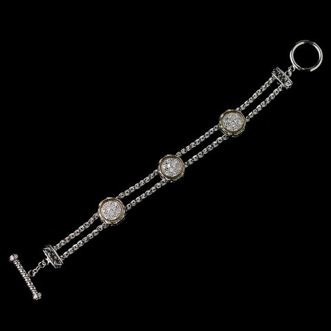 Silver & Gold Two Tone CZ Accented Bridal Wedding Bracelet 8873