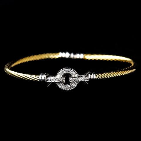 Two Tone Silver & Gold CZ Accented Cable Bangle Bridal Wedding Bracelet 8874