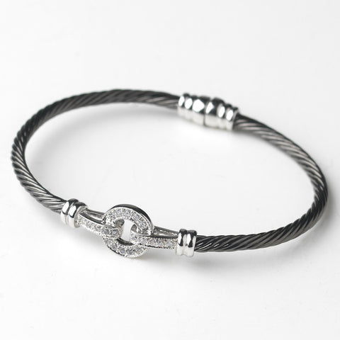 Black Clear CZ Accented Cable Bangle Bridal Wedding Bracelet 8874