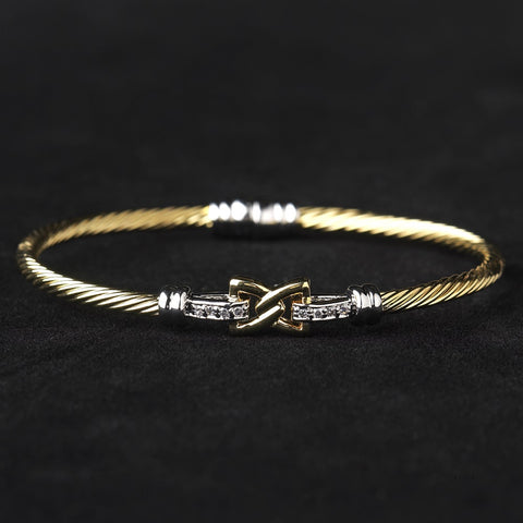 Gold Clear CZ Crystal Hug Cable Bangle Bridal Wedding Bracelet 8875
