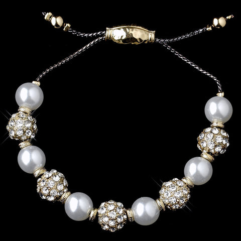 Gold White Pearl Rhinestone Pave Disco Ball Shambhala Bridal Wedding Bracelet 8879