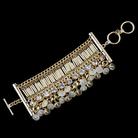 Gold Austrian Crystal & Rhinestone Toggle Bridal Wedding Bracelet 8881