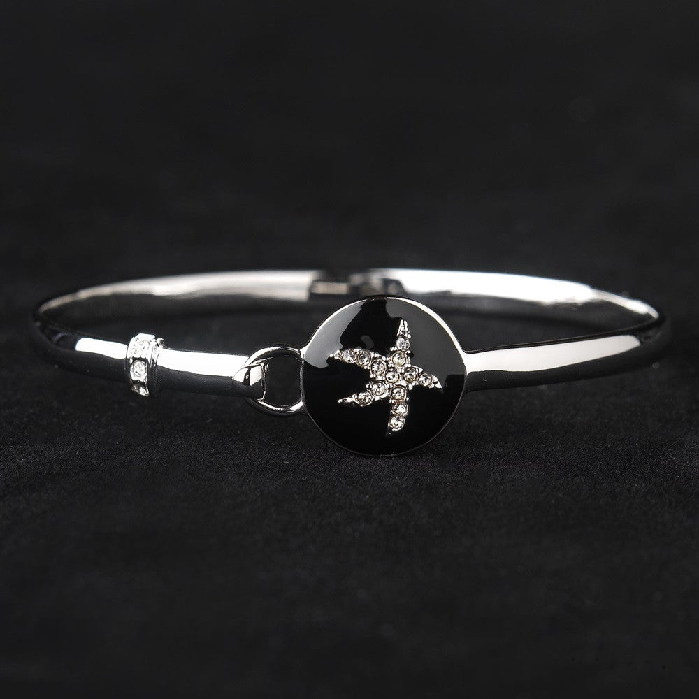 Black Enamel CZ Starfish Hook & Eye Style Bangle Bridal Wedding Bracelet 8940