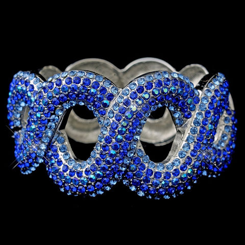 Gotti Majestic Iridescent Blue Rhinestone Bangle Bridal Wedding Bracelet in Silver 8990