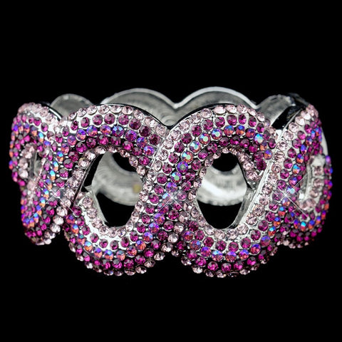Gotti Majestic Iridescent Fuchsia Rhinestone Bangle Bridal Wedding Bracelet in Silver 8990