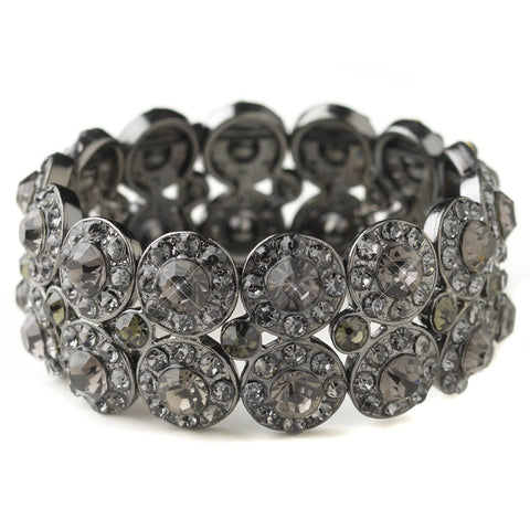 Hematite Smoke Rhinestone Stretch Bridal Wedding Bracelet 9236