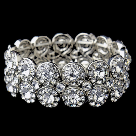 Antique Silver Clear Crystal Stretch Cuff Bridal Wedding Bracelet 9236