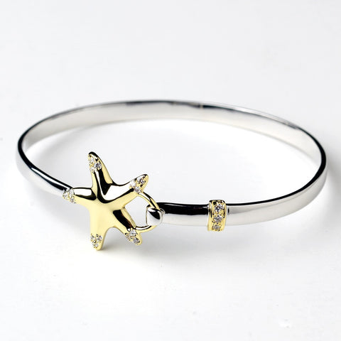 Silver & Gold Clear CZ Crystal Beach Starfish Bangle Bridal Wedding Bracelet 9257