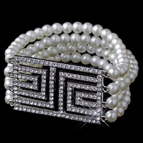 Antique Silver Ivory Pearl & Rhinestone Design Bridal Wedding Bracelet 9269