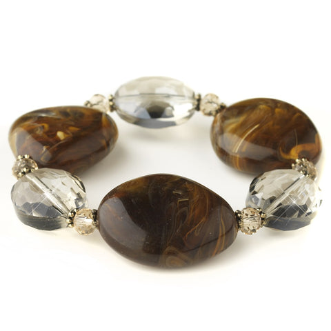 Gold Brown Faceted Glass & Stone Stretch Bridal Wedding Bracelet 9506