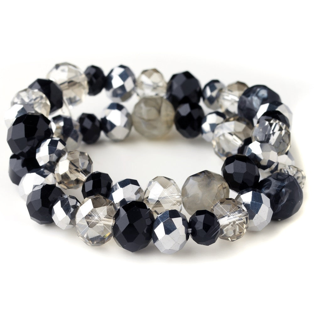 Black & Smoke Faceted Glass Stretch Bridal Wedding Bracelet 9507