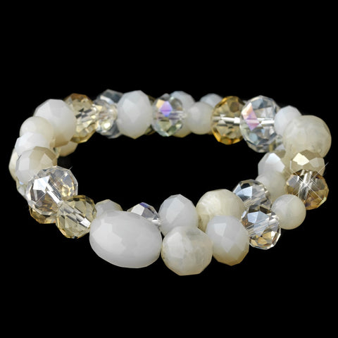 Light Topaz Cream Faceted Glass Stretch Bridal Wedding Bracelet 9507