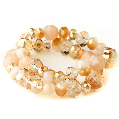 Peach Faceted Glass Stretch Bridal Wedding Bracelet 9507