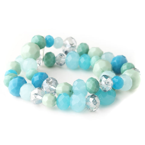 Aqua, Mint & Turquoise Faceted Glass Stretch Bridal Wedding Bracelet 9507