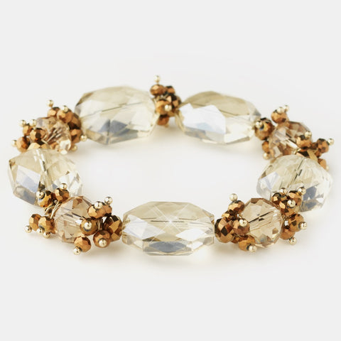 Gold Light Topaz Faceted Chunky Glass Cut Fashion Stretch Bridal Wedding Bracelet 9518