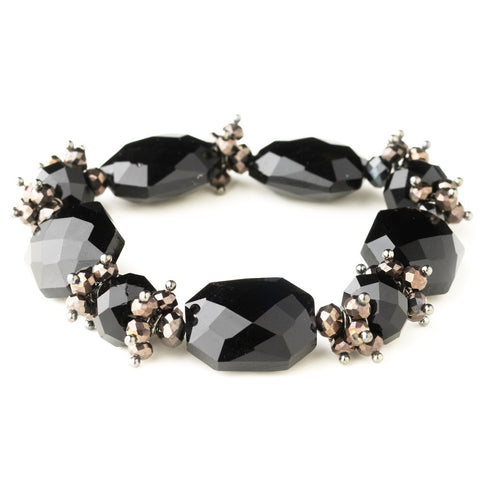 Hematite Black Faceted Chunky Glass Cut Fashion Stretch Bridal Wedding Bracelet 9518