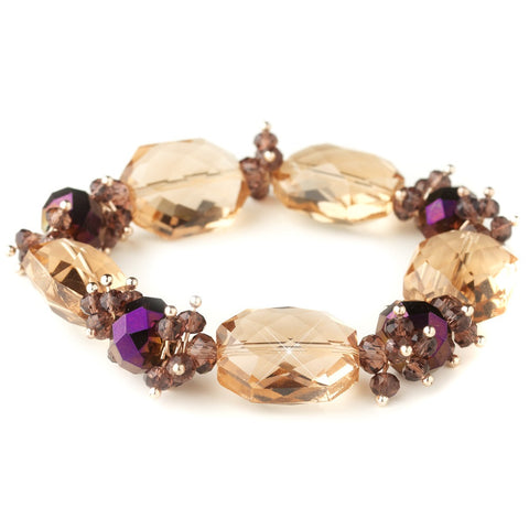 Gold Peach Faceted Chunky Glass Cut Fashion Stretch Bridal Wedding Bracelet 9518