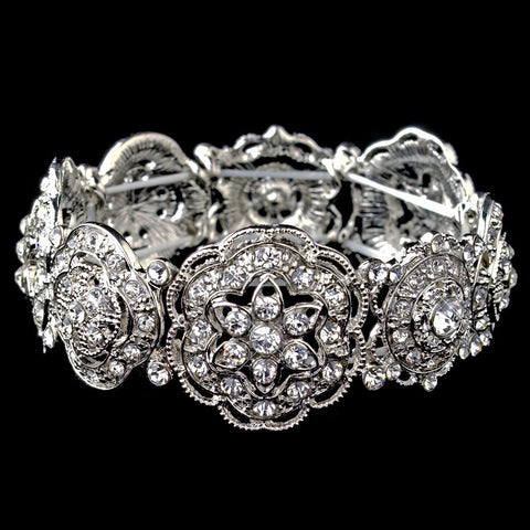 Rhodium Rhinestone Flower Stretch Bridal Wedding Bracelet 9611