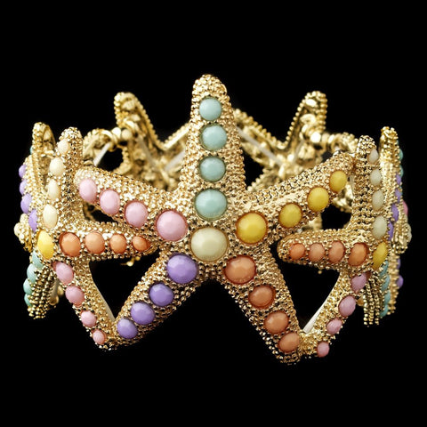 Gold Multi Colored Pearl Stretch Starfish Bridal Wedding Bracelet