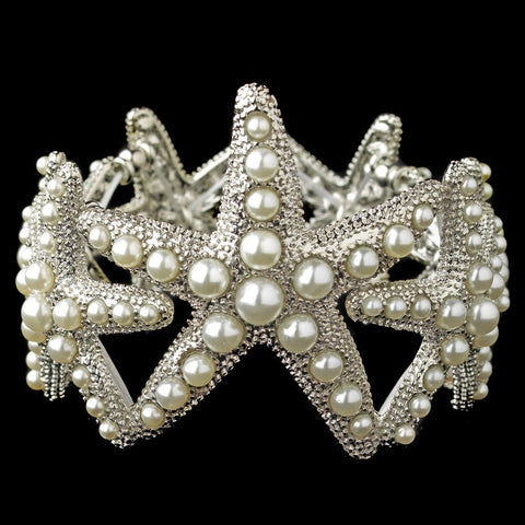Rhodium Diamond White Pearl Stretch Starfish Bridal Wedding Bracelet