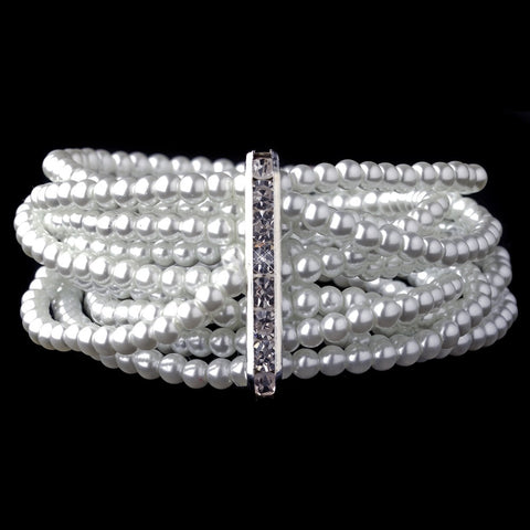 8 Row Silver White Pearl Stretch Bridal Wedding Bracelet