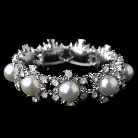 Rhodium Diamond White Pearl Stretch Bridal Wedding Bracelet 9619