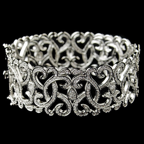 Rhodium CZ Art Decor Heart Swirl Bangle Bridal Wedding Bracelet