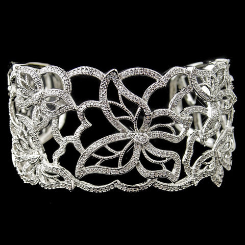 Rhodium Floral Butterfly CZ Bangle Bridal Wedding Bracelet