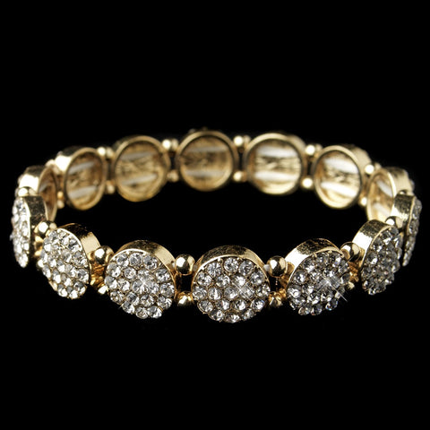 Gold Clear Rhinestone Circle Stretch Bridal Wedding Bracelet
