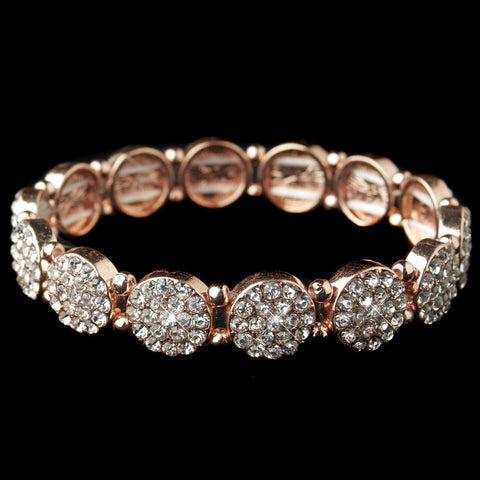 Rose Gold Clear Rhinestone Circle Stretch Bridal Wedding Bracelet