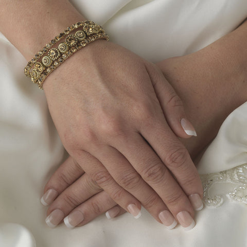Gold Brown Multi Stretch Rhinestone Bridal Wedding Bracelet B 963