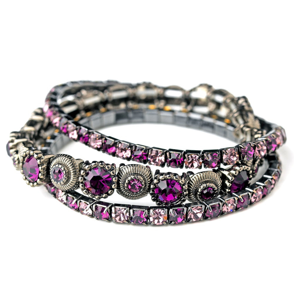 Antique Silver Amethyst Bridal Wedding Bracelet 963