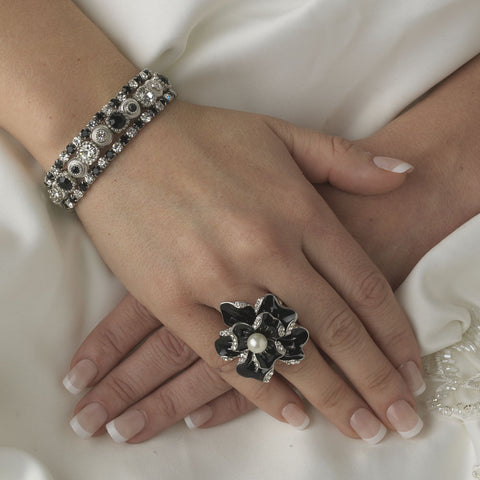 Silver Black Multi Stretch Rhinestone Bridal Wedding Bracelet B 963