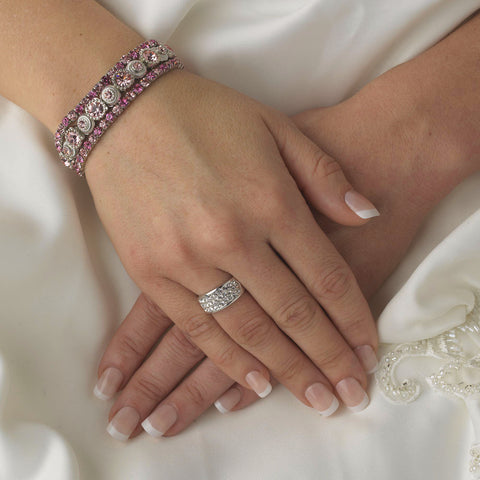 Silver Pink Multi Stretch Rhinestone Bridal Wedding Bracelet B 963