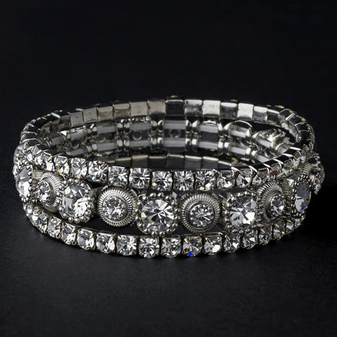 Silver Clear Multi Stretch Rhinestone Bridal Wedding Bracelet 963