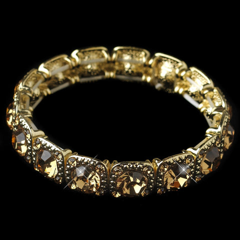 Gold Topaz Rhinestone Stretch Bridal Wedding Bracelet 964