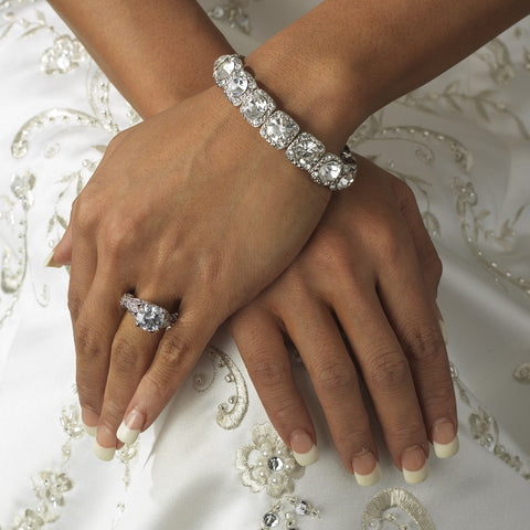 Silver Clear Stretch Crystal Rhinestone Bridal Wedding Bracelet B 964