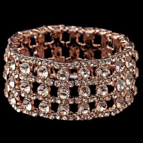Rose Gold Rhinestone Stretch Bridal Wedding Bracelet 9642
